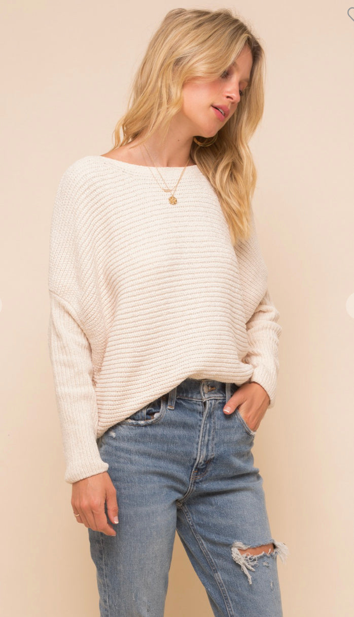 Grace And Virtue Chenille Boat Neck Sweater- Cream