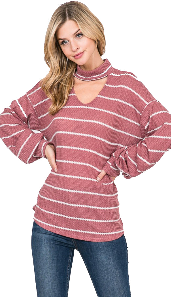 Free At Last Stripe Choker Top- Mauve