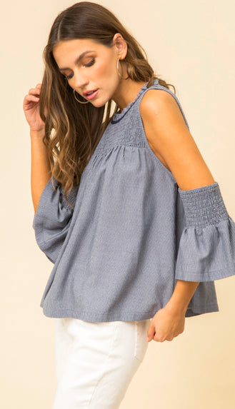 Smocked Open Shoulder Top- Soft Denim Blue