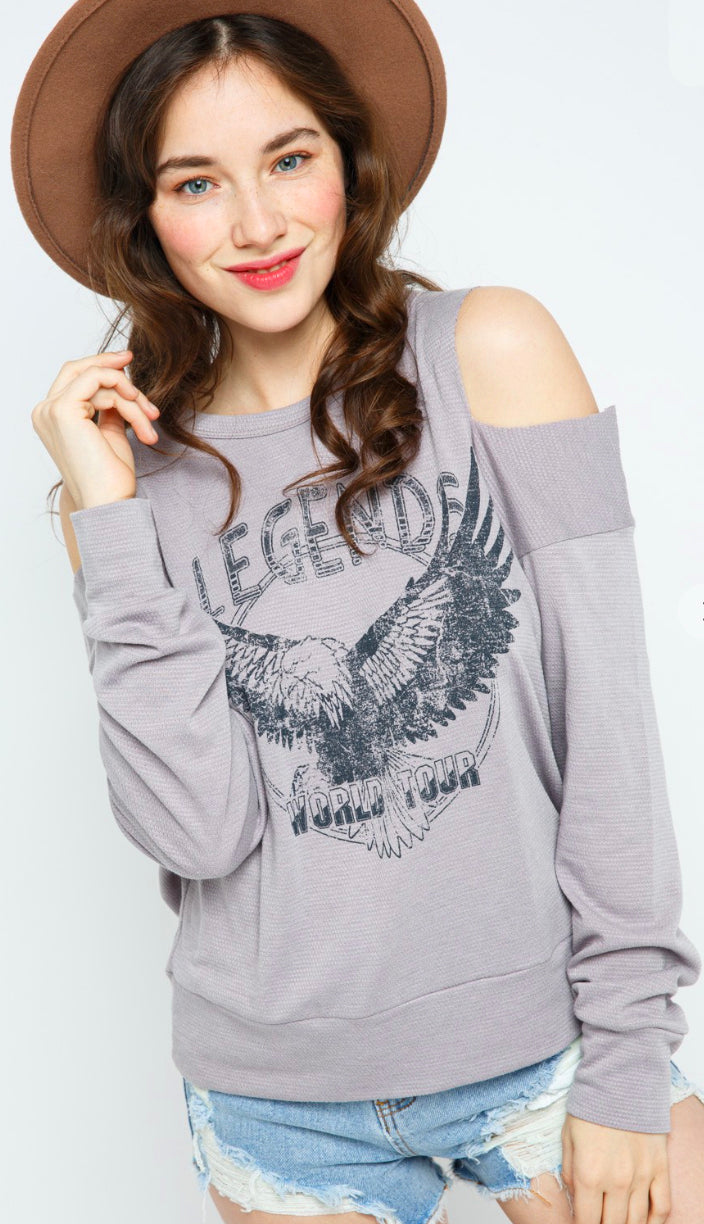 Legend Cold Shoulder Graphic Top- Light Grey/Dusty Purple