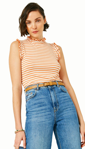 Ruffle Like That Stripe Tank- Coral