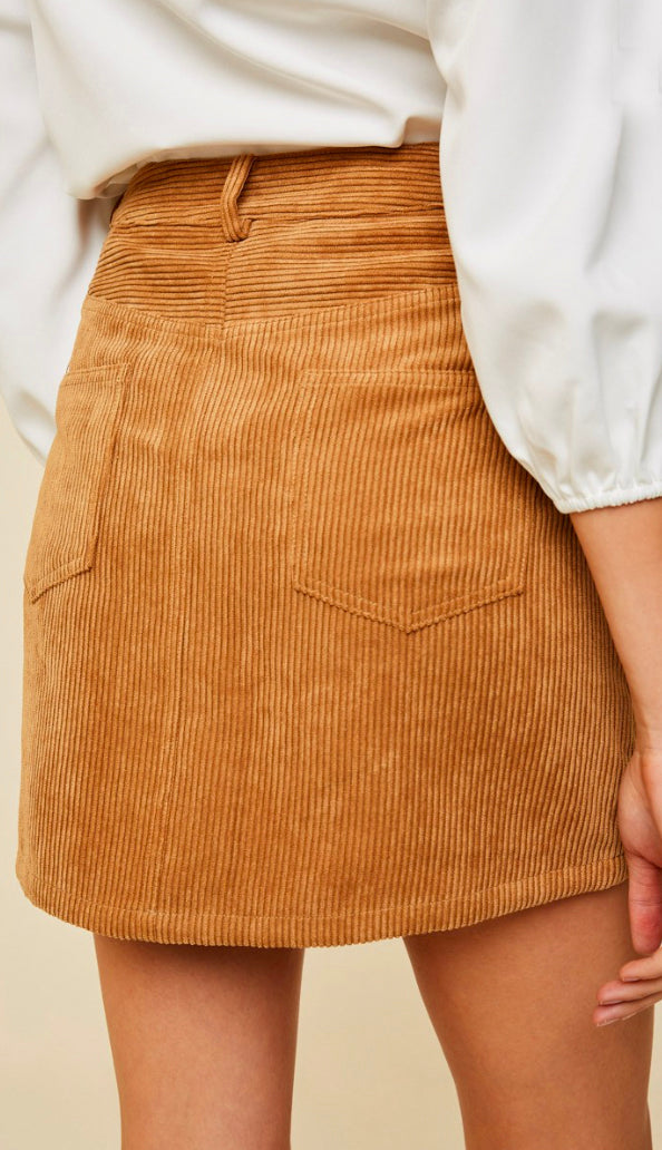Cute As Ever Corduroy High Rise Skirt- Camel