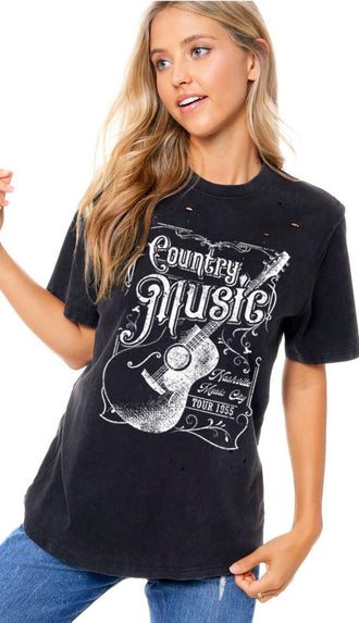 Boots Jeans Beer Country Music Tee- Black