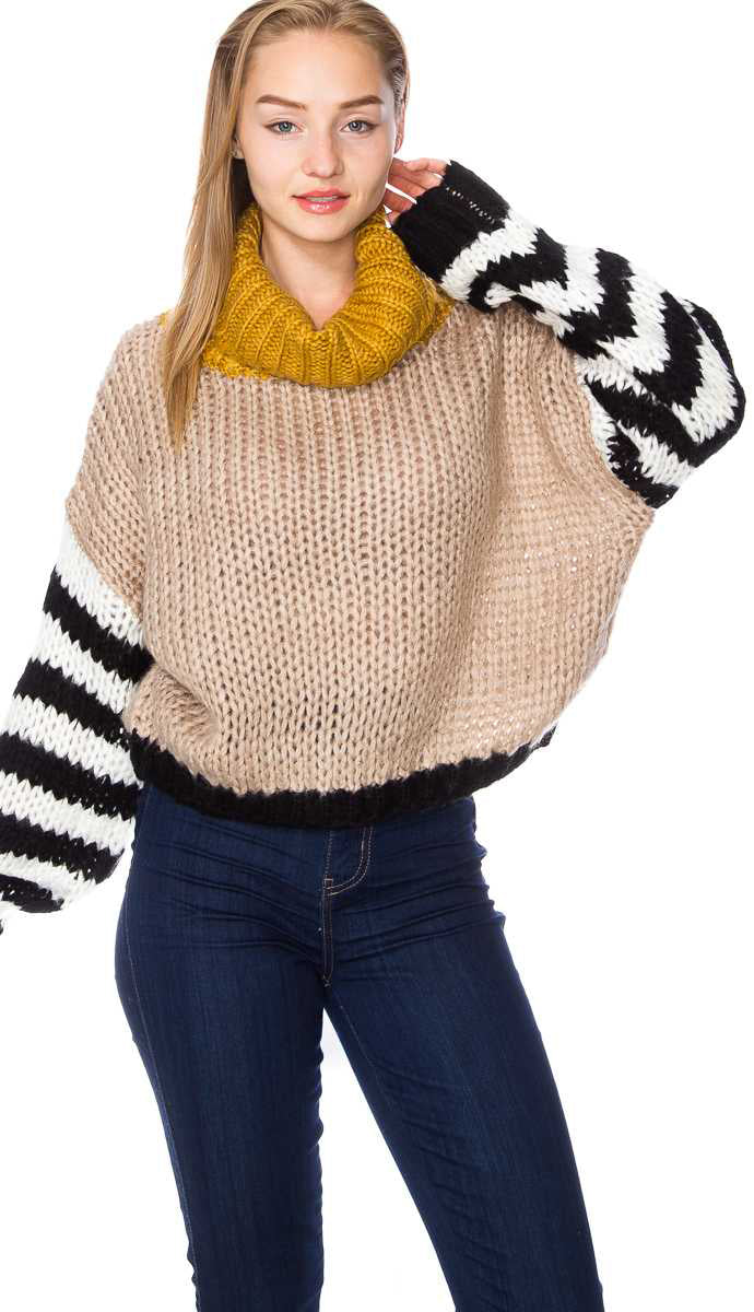Be The Good Cropped Sweater Top- Mocha/Mustard