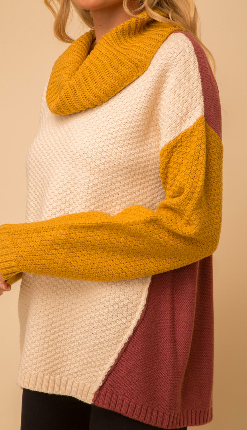 Life In Color Block Cowl- Cream/Mustard