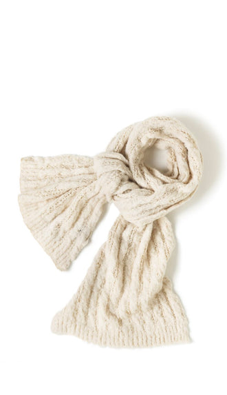 Crochet Ribbed Oblong Scarf- Ivory