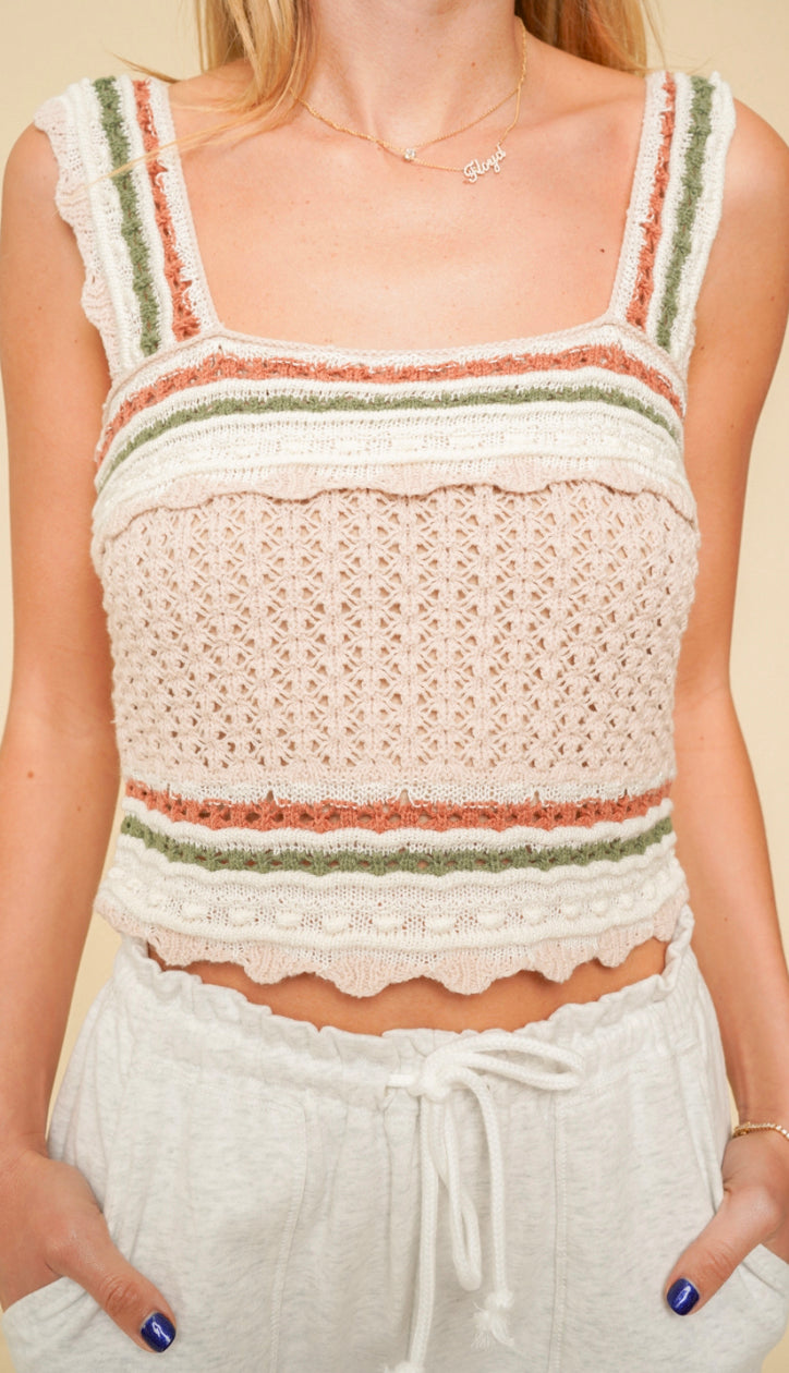 Lala Stripe Crochet Tank- Taupe/Olive