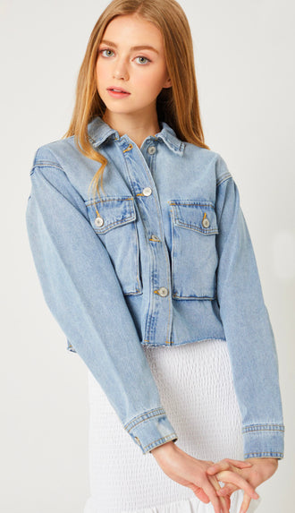 On The Edge Cropped Denim Jacket- Light Blue