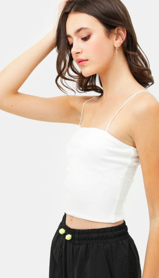 Ribbed Spaghetti Strap Crop Tank- White