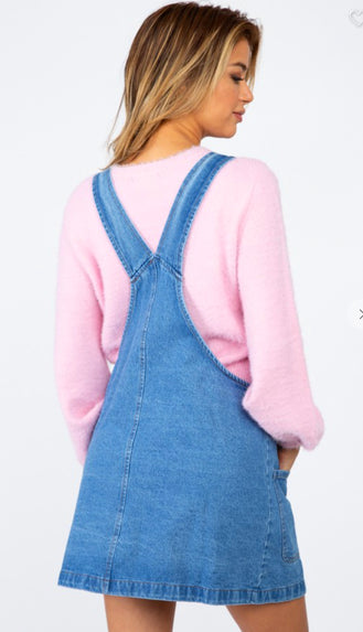 Parker Y Back Overall Dress- Denim Blue