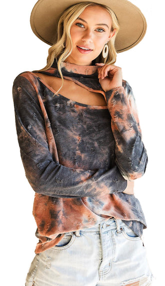 Cut Out Tie Dye Distressed Top- Rust/Charcoal