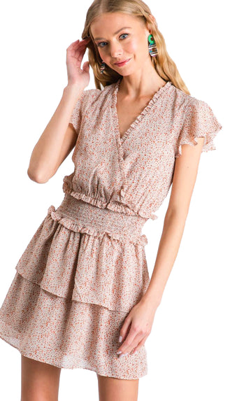 Girly Girl Ditsy Print Smocked Dress- Taupe