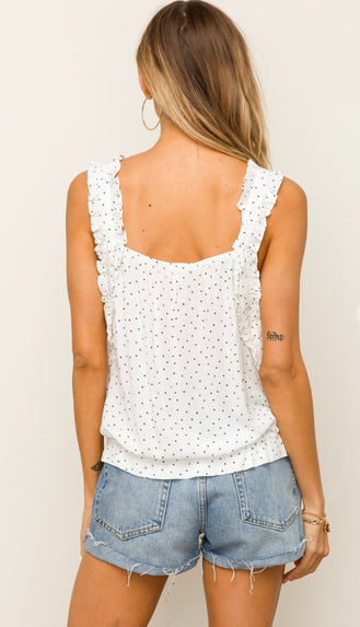 Dottie And Lace Cami Tank- White