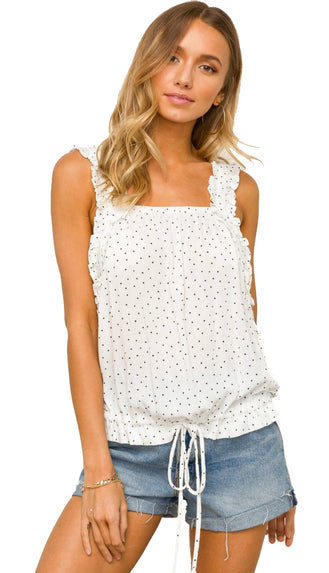 Dottie Girl Ruffle Strap Tank Top- White