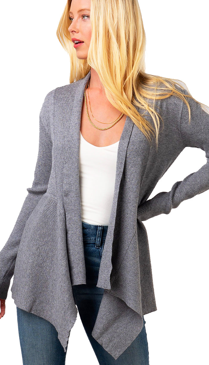 Ribbed Drape Front Cardigan- Olive