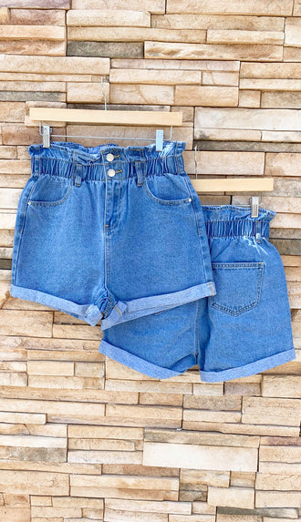 Mom Jean Elastic Waist Denim Shorts- Light Denim