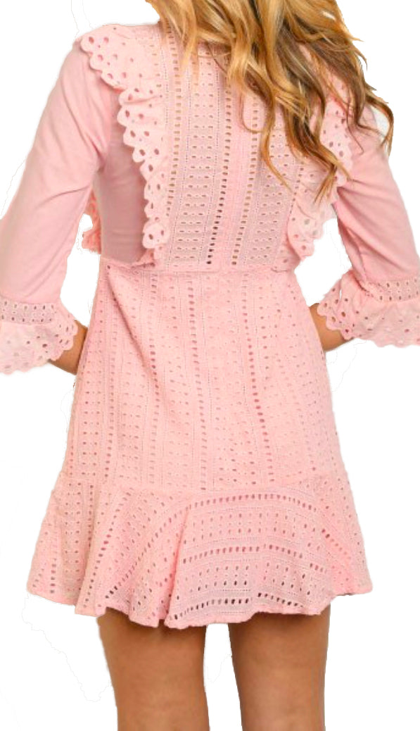 High Neck Eyelet Dress- Pink