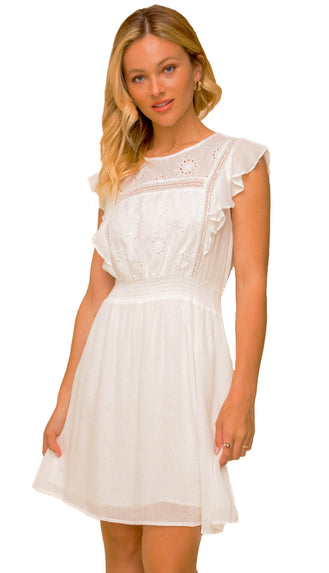 My Big Moment Eyelet Dress- Off White