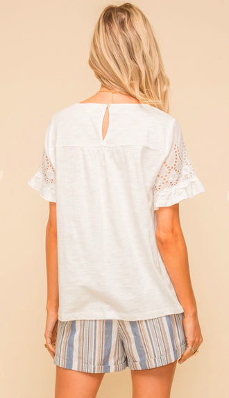 All Her Eyelet Lace Trimmed Top- Off White