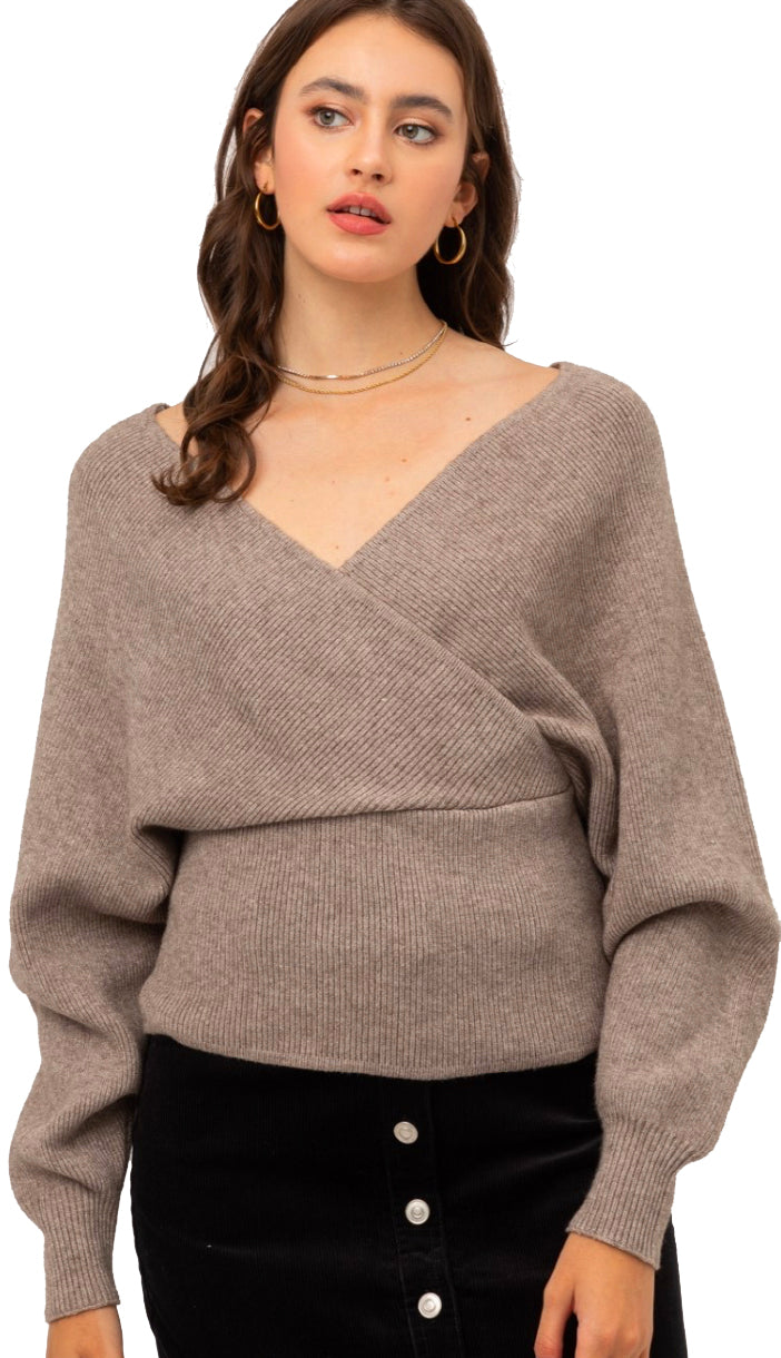 Wishing Well Soft Wrap Sweater- Light Teal