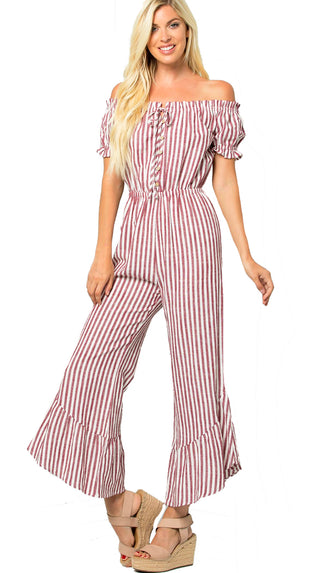 Bring It Flare Jumpsuit- Burgundy