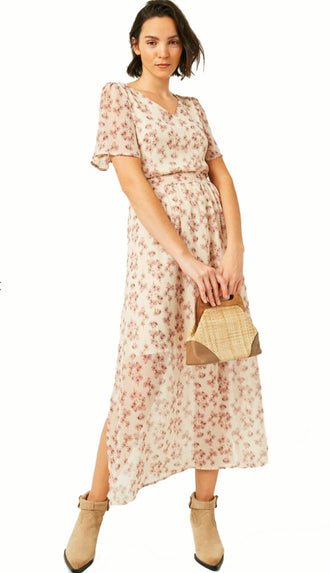 So Whimsy Flutter Sleeve Midi Dress- Beige