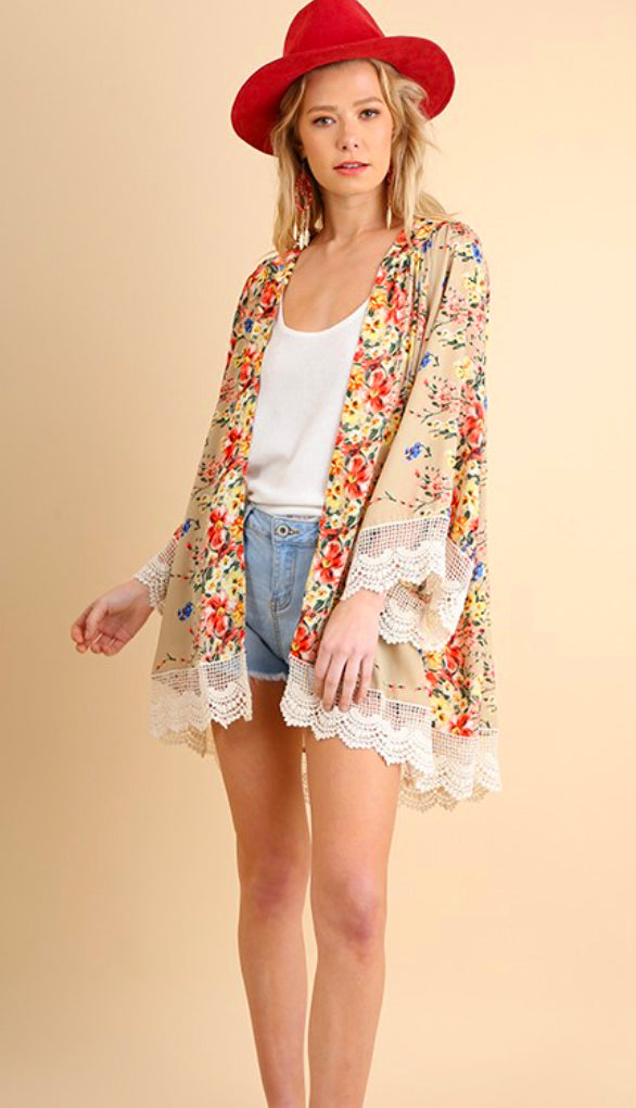 Tropical By Day Kimono- Cream