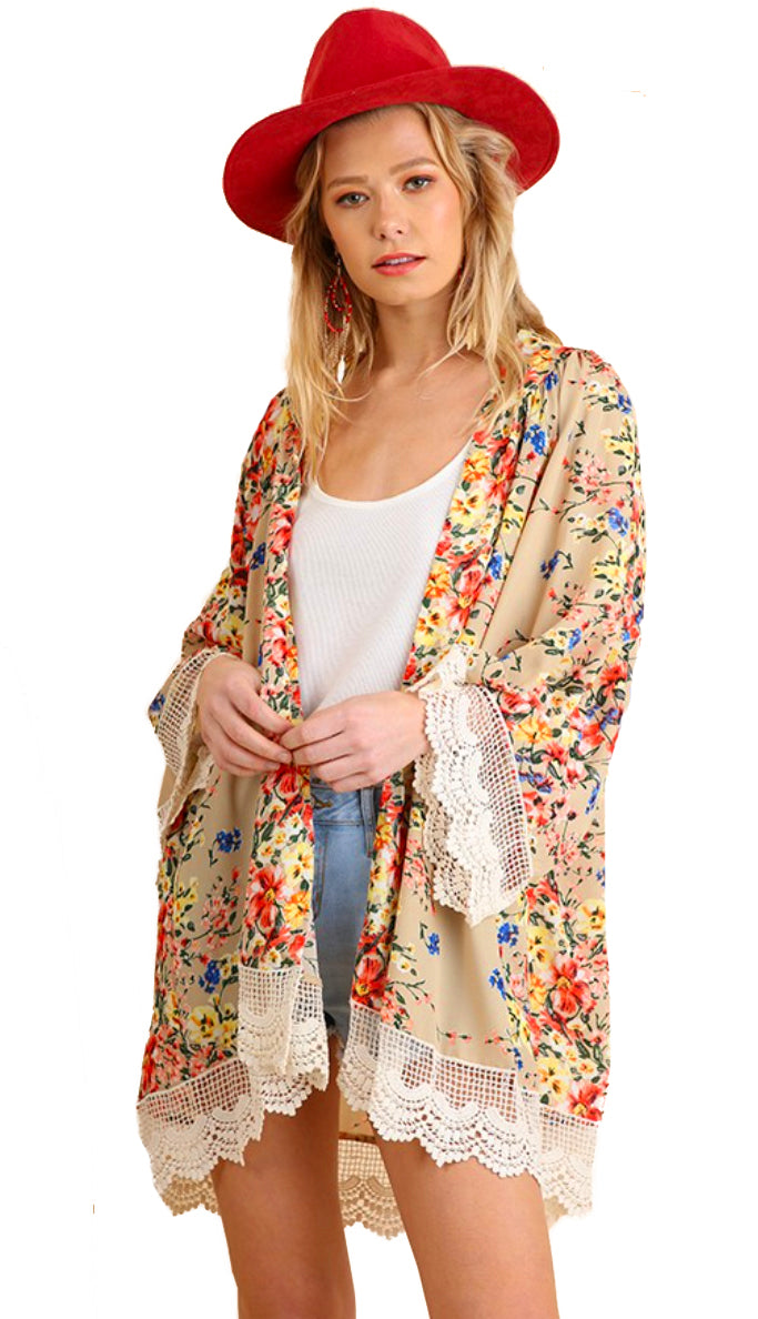 Neutral Bloom Lace Trim Kimono- Taupe