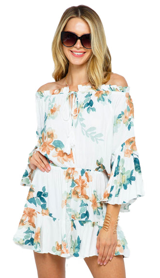 Destination Sun Floral Romper- Off White