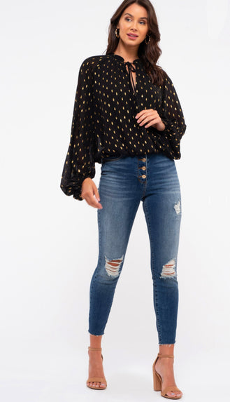 All Dressed Up Gold Detail Balloon Sleeve Blouse- Black