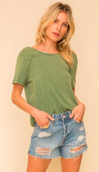 Acid Wash Twist Back Tee- Green