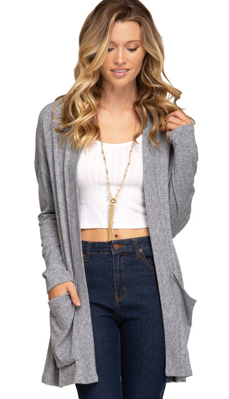 Soft Basic Pocket Cardigan- Grey