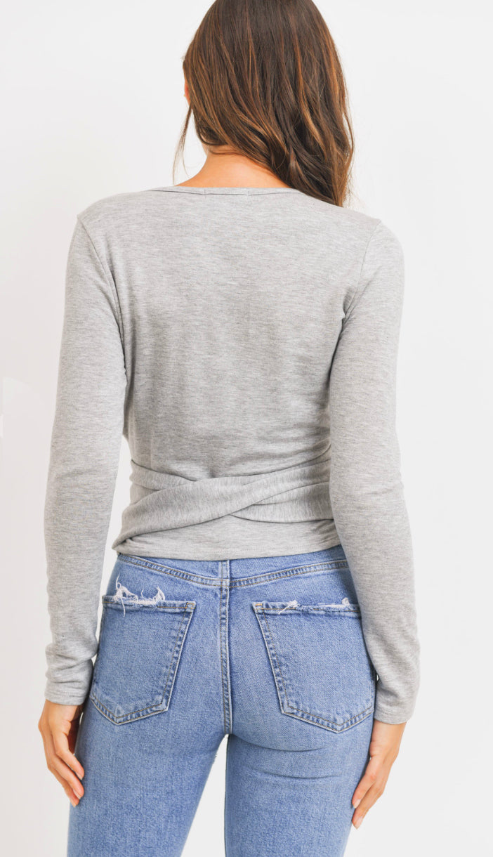 Fitted Fit Wrap Top- Heather Grey