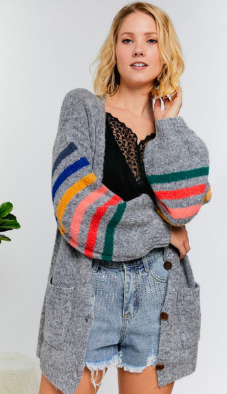 Rainbow Stripe Sleeve Cardigan- Charcoal Grey