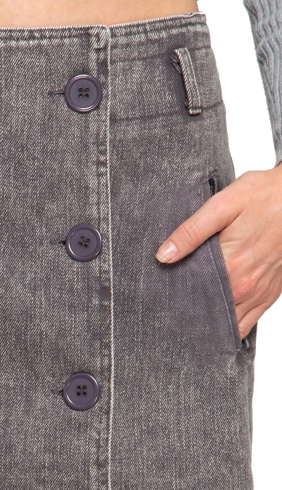 Vintage Button Detail Skirt- Grey
