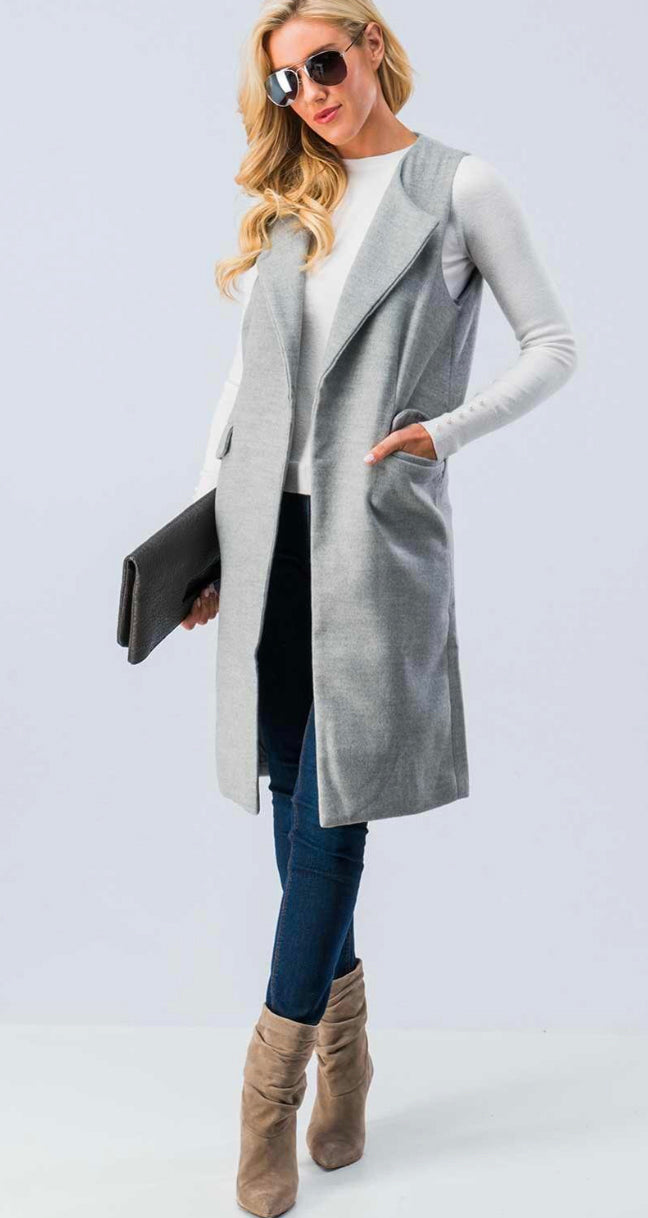 Getting Things Done Sleeveless Midi Coat- Grey