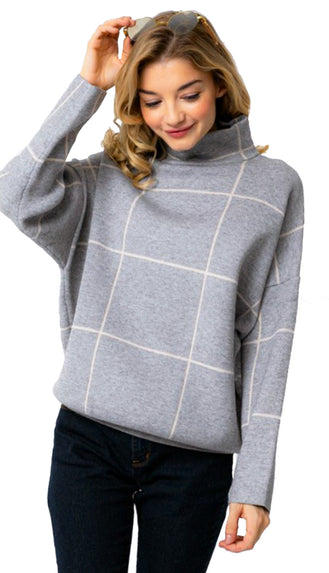 Simply Chic Grid Mock Neck Sweater- Grey