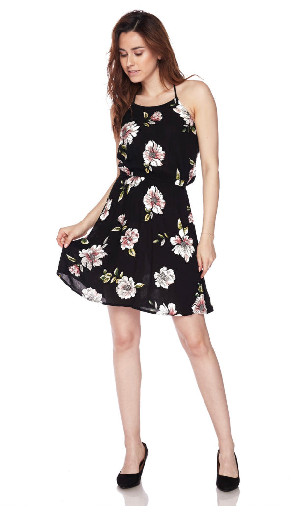 You And I Floral Halter Dress- Black