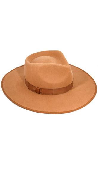 Structured Wide Brim Ribbon Wool Hat- Tan