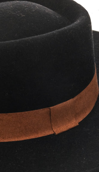 Structured Wide Brim Contrast Wool Hat- Black/Tan