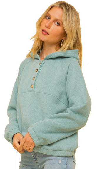 Sigh Of Comfort Fleece Lined Hoodie- Mint