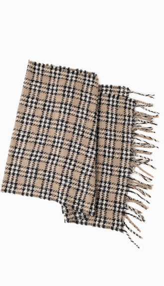 Boucle Houndstooth Plaid Oblong Scarf- Camel