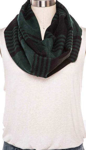 Mix Stripes Infinity Scarf- Green