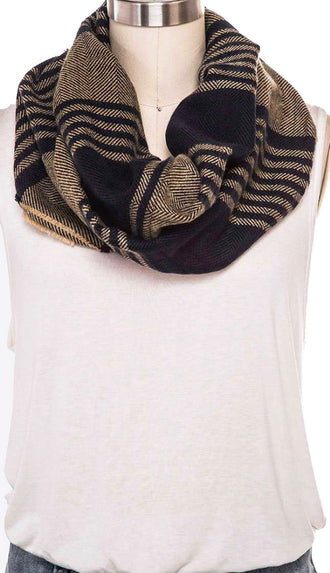 Mix Stripes Infinity Scarf- Khaki/Navy