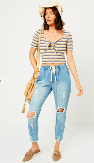 Elastic Waist Distressed Drawstring Denim- Light Wash