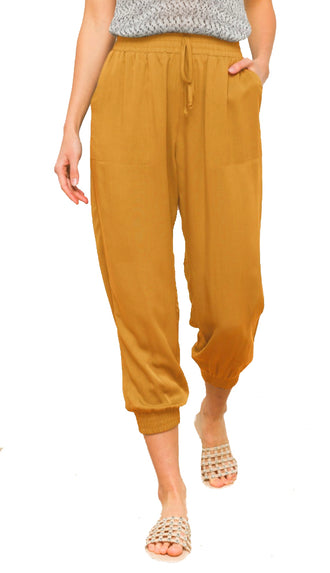 Outfit Repeat Elastic Waist Joggers- Mustard