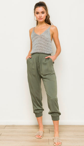 Outfit Repeat Elastic Waist Joggers- Olive