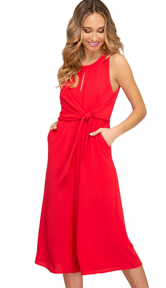 Keyhole Side Tie Jumpsuit- Red