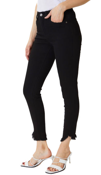 KanCan No Rip Frayed Bottom High Rise Denim- Black
