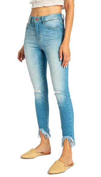 Kancan Frayed Bottom High Waisted Denim- Light Wash
